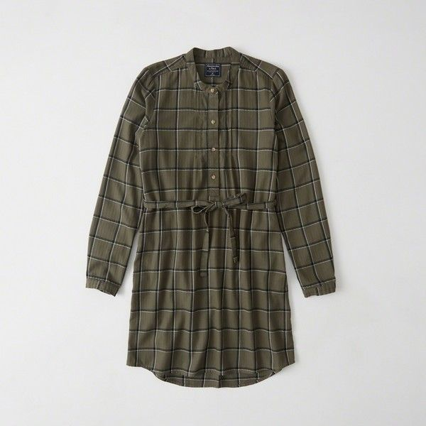 Abercrombie & Fitch Banded Collar Flannel Shirtdress ($34) ❤ liked on Polyvore featuring dresses, olive plaid, flannel dresses, long-sleeve shirt dresses, long sleeve plaid dress, olive green dress and olive green shirt dress
