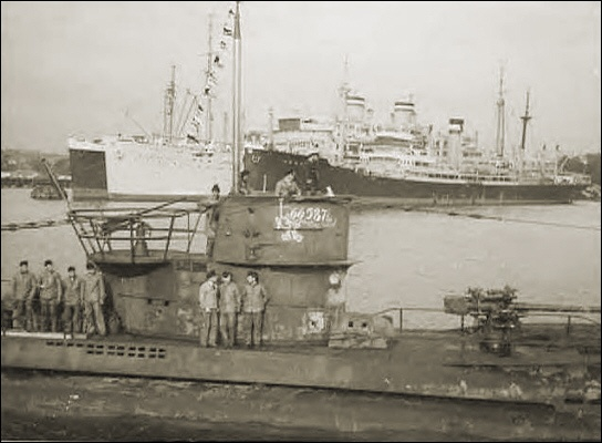 U 47 - 6 July 1940 (I don't know the names of the ships in the background.)