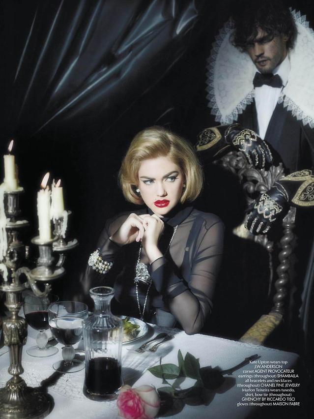 Ferocious   CR Fashion Book March 2014   Kate Upton goes Gothic in this 'Beauty and the Beast' themed fashion spread by Karl Lagerfeld.