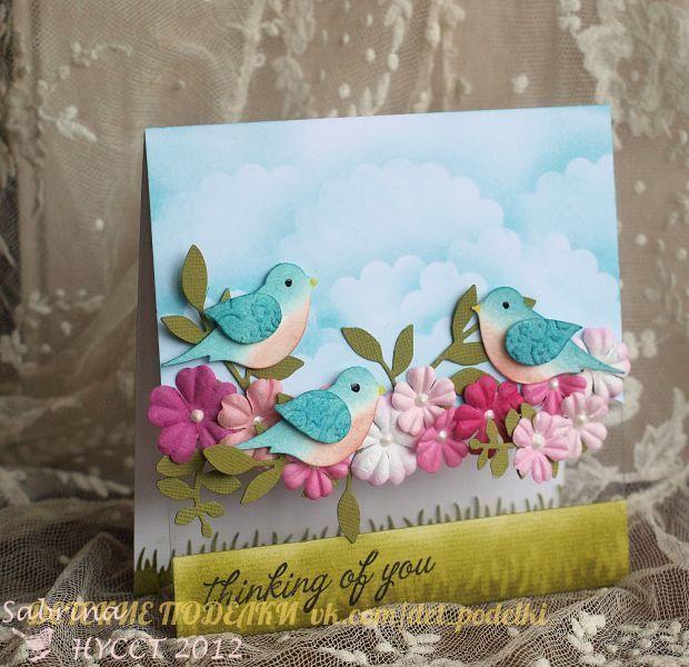 открытки с птичками своими руками серебряную