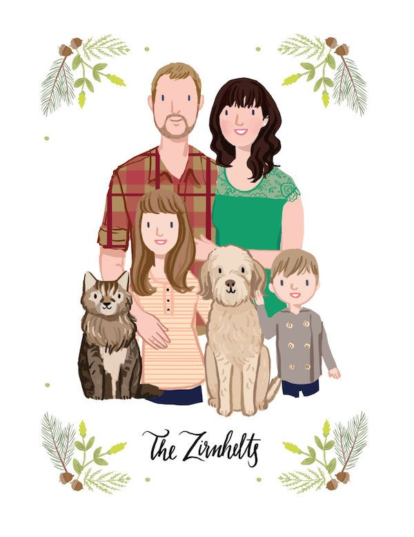 Custom illustrated family portraits by Kathryn Selbert on Etsy.