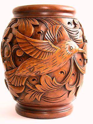 Fair Trade Hand Vintage Decorative Carved Wooden Vase
