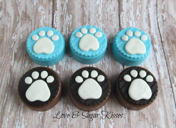 Fondant topped chocolate covered Oreos Puppy by lovesugarkisses, $35.00