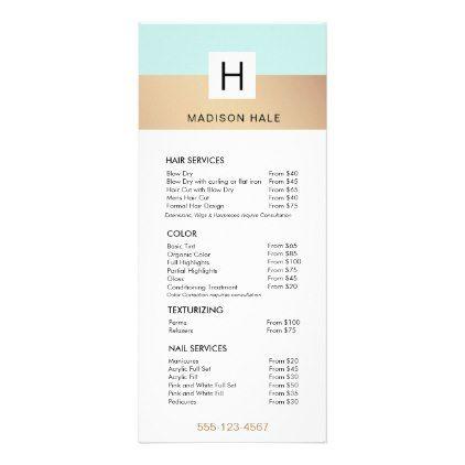 Cute Modern Turquoise Gold Monogram Beauty Stylist Rack Card - elegant gifts gift ideas custom presents