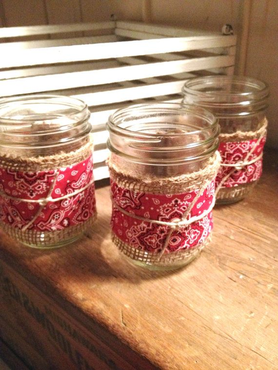 Easy to make table decoration...Mason Jar Burlap & Bandana Decor / Cowboy/Cowgirl  party