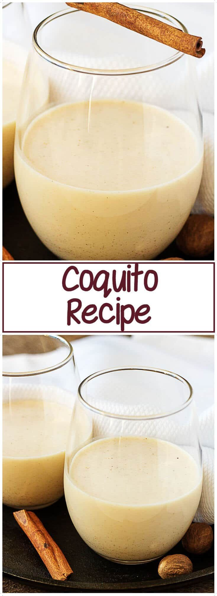 A simple Coquito recipe that's festive and perfect for lifting your holiday spirits. A rich and creamy coconut eggnog spiked with white rum. #coquito #eggnog  #alcohol #Christmas via @berlyskitchen
