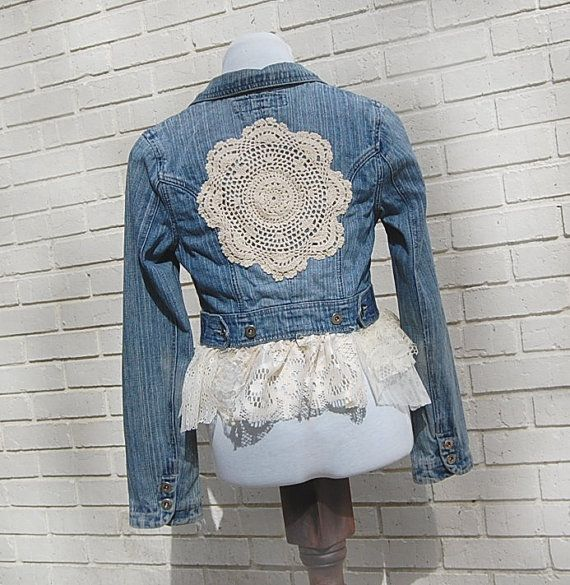 Boho Denim Blazer Jacket Blue Jean Lace by GallimaufryClothing