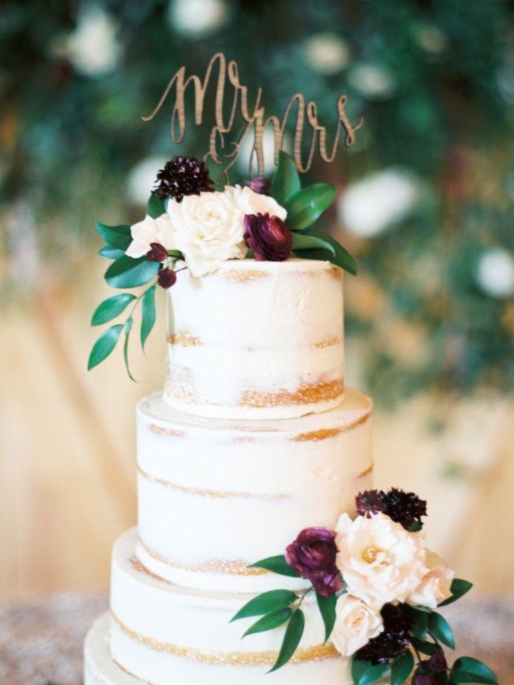 Semi naked wedding cake with burgundy flowers #weddingcake #cake #seminakedweddingcake