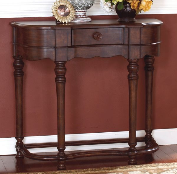 traditional style crescent shaped entryway table with small narrow profile storage drawer display shelf premium
