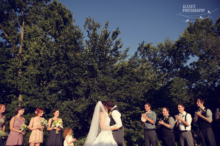 First Kiss. Wedding In Fontenelle Forest
