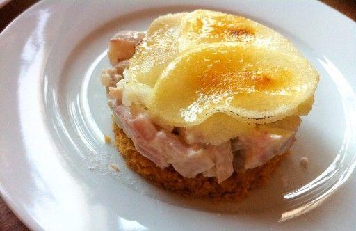 Taartje van paling, oudewijvenkoek en gekarameliseerde appel recept - Vis - Eten Gerechten - Recepten Vandaag