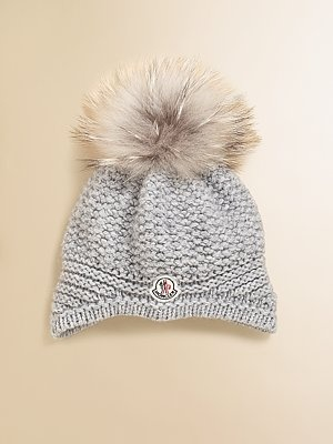 Moncler Girl's Fur Pom-Pom Hat