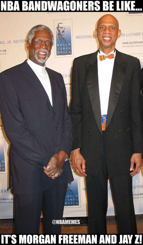 Bill Russell and Kareem or Morgan Freeman and Jay Z? - http://nbafunnymeme.com/nba-funny-memes/bill-russell-and-kareem-or-morgan-freeman-and-jay-z