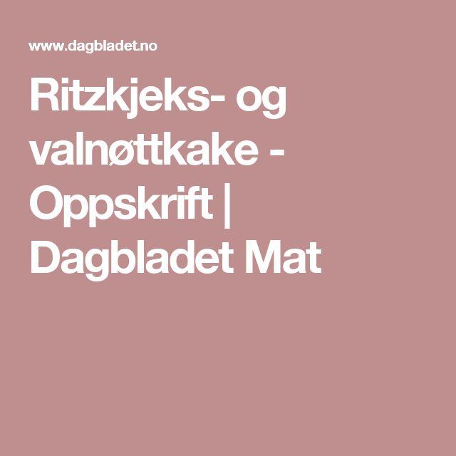 Ritzkjeks- og valnøttkake - Oppskrift | Dagbladet Mat