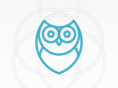 Simple, effective, useful logo. Owl. Blue, branding, circles, logo.