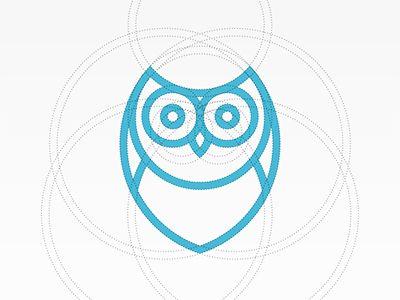 Simple, effective, useful logo. Owl. Blue, branding, circles, logo.