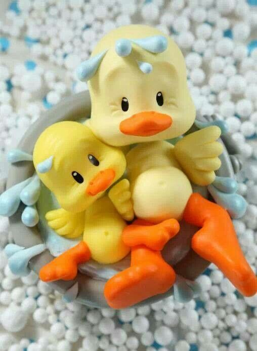 Para un baby shower: patitos bañandose