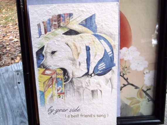 celebrate someone's  journey whose beloved  animal companion is/was a service companion/ sentimental cards/unique empathy condolence/ hand made natural paper/ hand drawn image/storybook heartfelt messages/