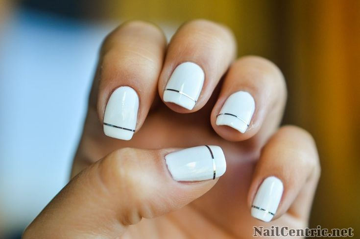 Super easy wedding nails with silver striping tape