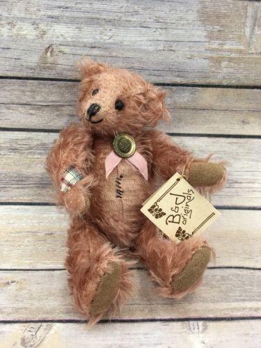 Vintage B&D Original Handmade Artist Bear Pink Mohair Shoe button eyes Plaid