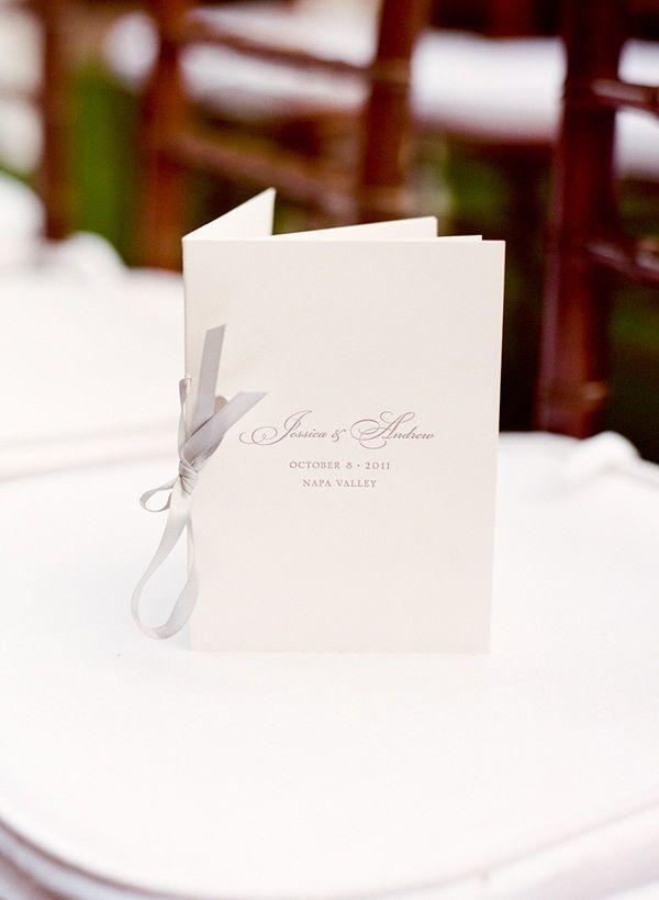 Simple Ceremony Program With Gray Ribbon