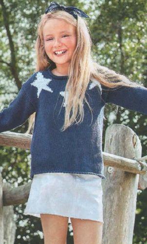 Пуловер со звёздами для девочки, вязаный спицами