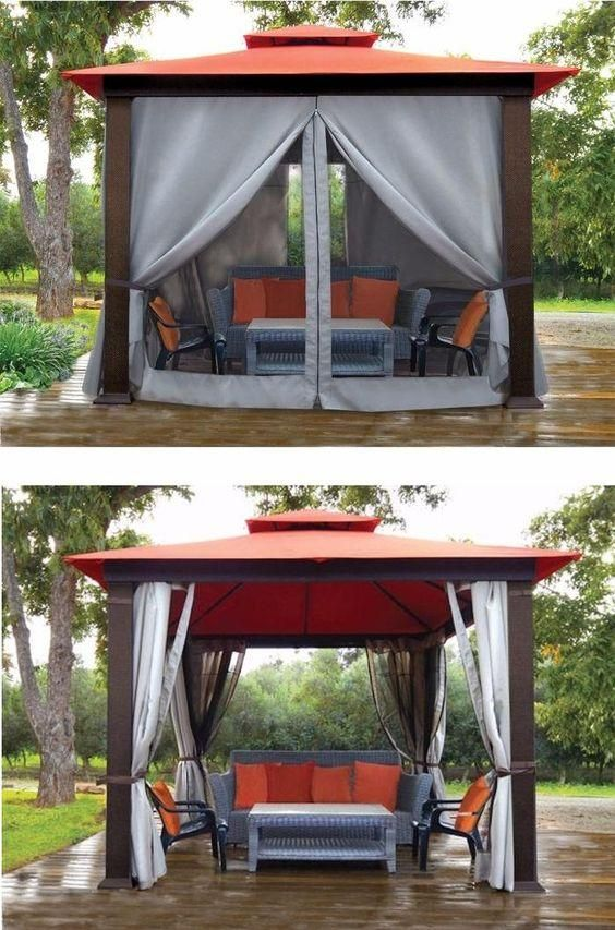 Create an entire new room with the Full Mosquito Netting on all 4 sides and Privacy Curtains on all 4 sides for your Marbella Gazebo. You can zip or unzip the Netting and Privacy Panels for just the right amount of comfort!