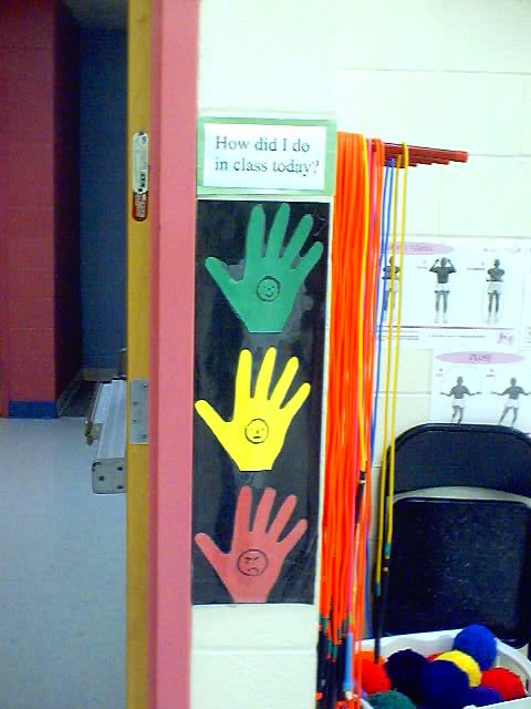 High Five sign for when students leave PE
