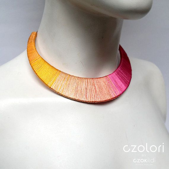 Pink Yellow Ombre Yarn Wrapped Statement Choker Oversized Unique Silk Jewelry Haute Couture 2015 Spring Fashion Rainbow Necklace