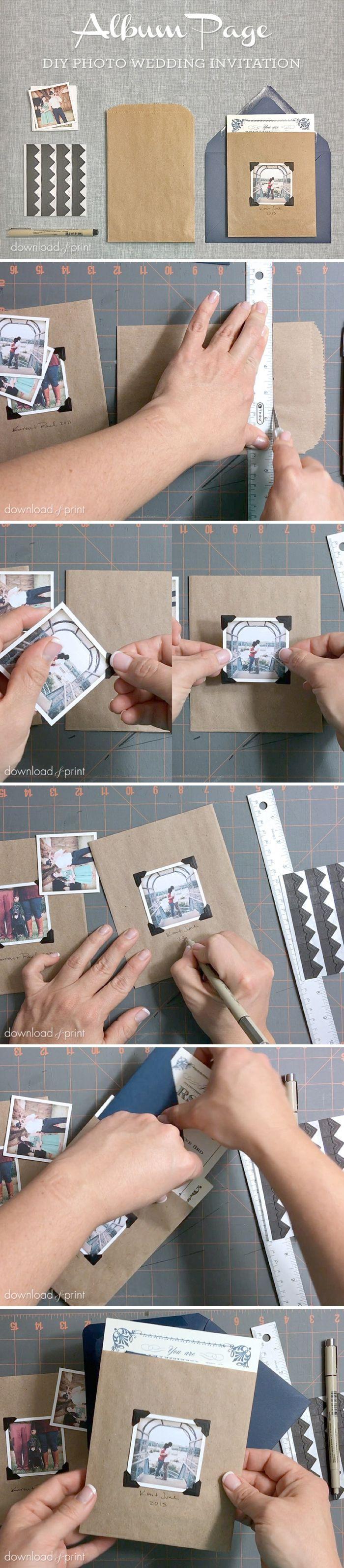 Vintage Photo Album Pocket - DIY Wedding Invitation Embellishment