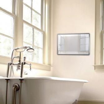 19 Inch Waterproof TV Silver Mirror Finish Bathroom