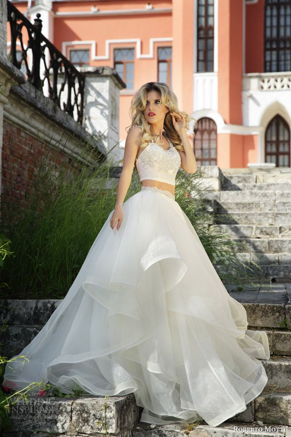roberto motti bridal 2015 adel crop top wedding dress ball gown skirt