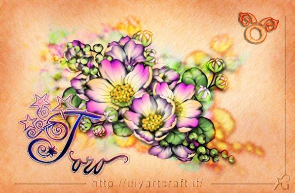 Disegno floreale ranuncoli e segno Toro idea tattoo diyartcraft