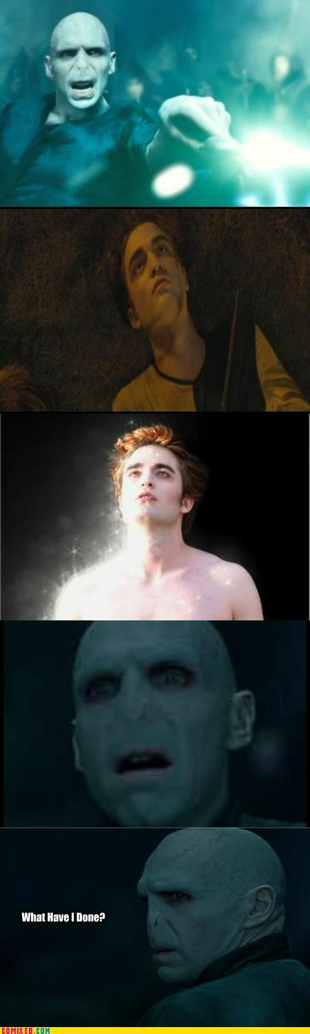 Ever since Robert Pattinson became Edward, I have been saying that after Voldemort killed Cedric, he turned into a vampire.