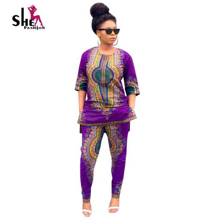 Großhandel Dashiki Traditionelle Afrikanische Kleidung 2 Stück Set Frauen Africaine Print Kleid + Hose Herbst Kleidung plus größe bazin riche