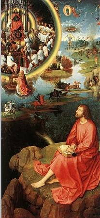 John of Patmos by Hans Memling [1430 - 1495] ~ The painting depicts St. John on the Island of Patmos when he was given the supernatural vision to write The Revelation of Jesus Christ...