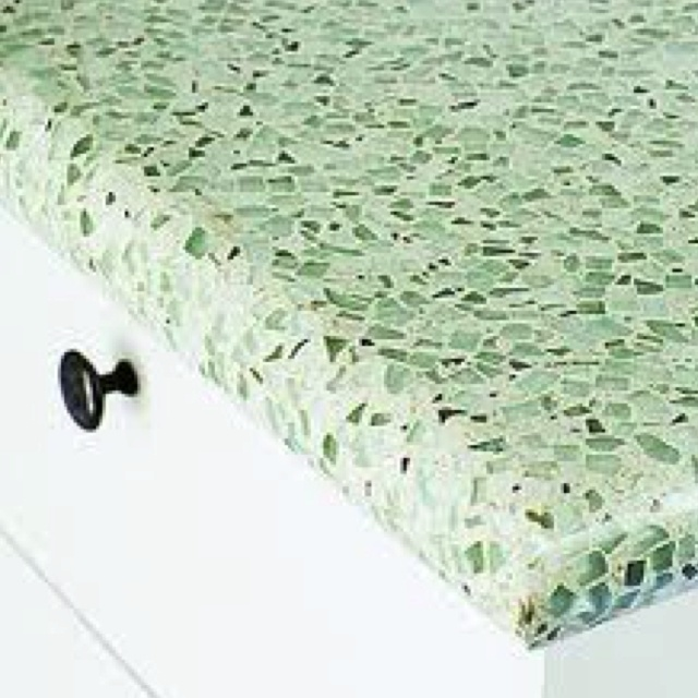 Sea Glass And Cement Countertops, Love This Look...one Day