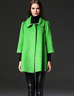 frmz basit coatsolid gömlek yaka kol kış kahverengi çıkıyor / yeşil taklit kürk / polyester orta