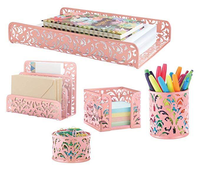 Amazon Com Pink 5 Piece Metal Desk Accessories Desk Organizer Desk Decor Set Cute Offic Pink Office Decor Cute Office Decor Office Decor Desk Accessories