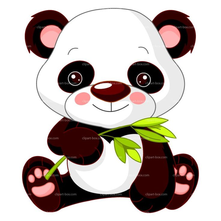 CLIPART BABY PANDA WITH BAMBOO | Royalty free vector design