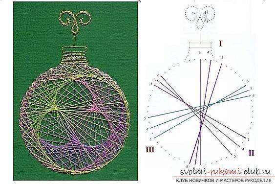 Как создавать поделки в технике изонить, подробные инструкции, схемы с цифрами и фото работы, уроки по созданию открыток к Новому году в технике изонить. Фото №18