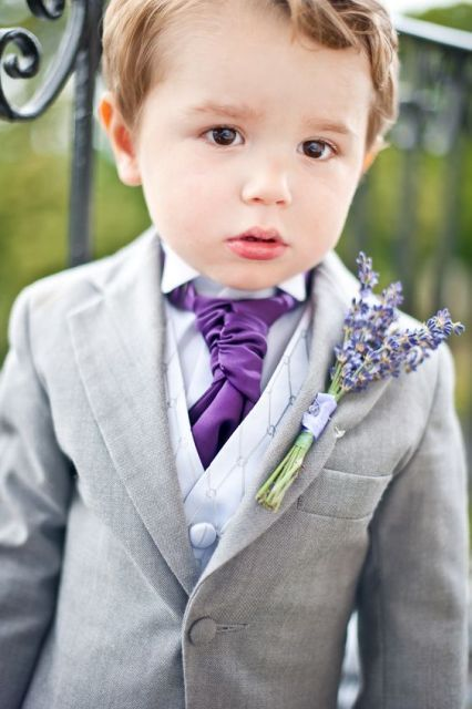 22 Cute And Stylish Ring Bearer Outfits: #17. Ring bearer outfit with lavender boutonniere