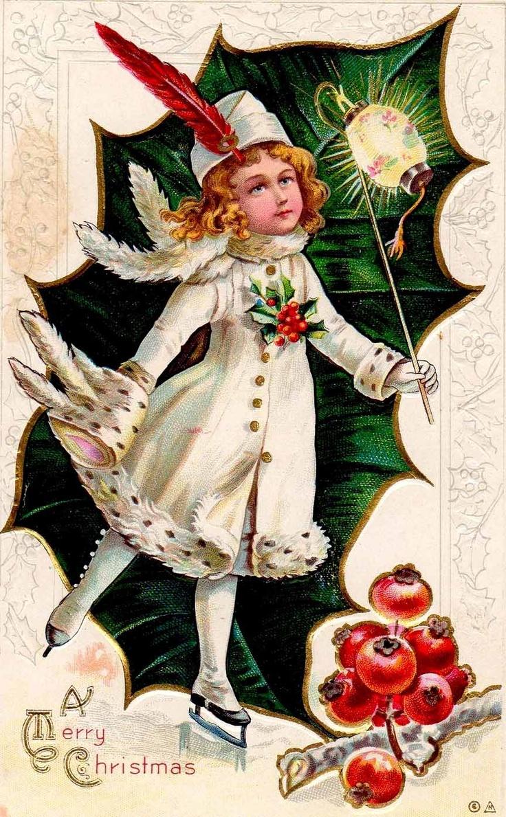vintage Christmas postcard ~ girl skating, persimmons