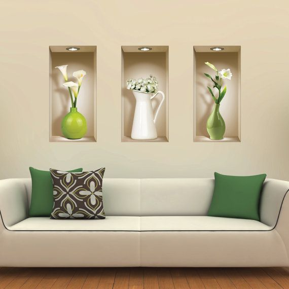 nobby design wall niche decorating. Set 3 Green Vases Wall Stickers 3D Art Magic NICHE Picture Removable Vinyl  Mural Home Decor Tile Decals Trompe l oeil Salon 24 best floors images on Pinterest Floors Marble floor and Bathroom