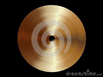 Template of round metal disk with bronze texture isolated on black background.