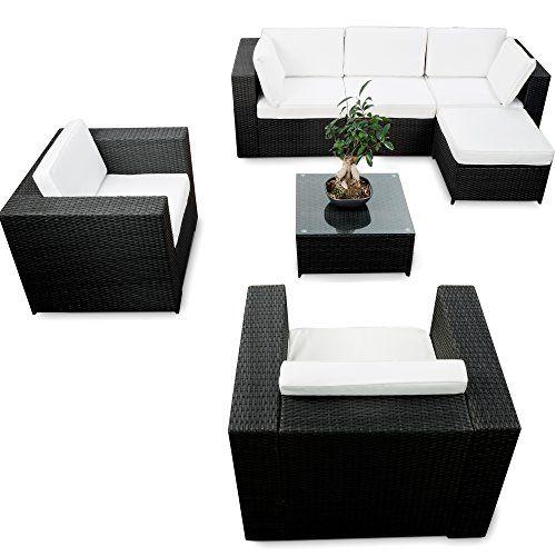 ... XXL Für Balkon Und Terrasse Erweiterbar   Lounge Rattan Eckset XXL    Schwarz   Gartenmöbel Lounge Ecke Sitzgruppe Garnitur   Gartenlounge Set  Inkl.