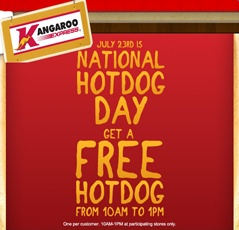 FREE Hot Dog at Kangaroo Express on July 23rd