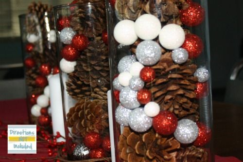 Glitter And Pinecone Centerpieces Holiday
