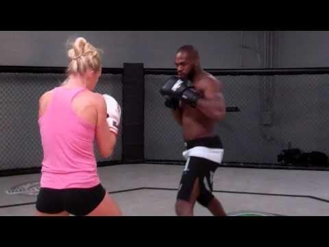 Holly Holm and Jon Jones Training Together   MMA WMMA kick boxing muai thai