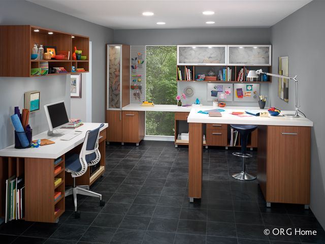 drawers, display space, and wide-open work surfaces. A computer desk